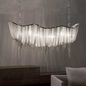 Современные Серебряного алюминиевых Цепного освещение канделябра Luxury Engineering Design Luxury Chain кисточка Лампа для Hotel Restaurant Decor