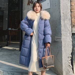 X-long Women's Down Jacket Hooded Thick Parkas Female Winter 2021 Plus Size with Fur Collar Solid Loose Casual Women Coats