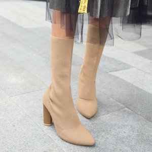 Stretch Women's Boots Fashion Slip-On Mid-Calf Boots Faux Suede High Heels Autumn Winter Woman Shoes Socks Size 34-43