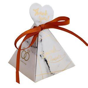 New Creative European Style Triangular Pyramid Sugar Gift Box White Marble Candy Box Wedding Favors Party Supplies Hot Sale 0 8hs