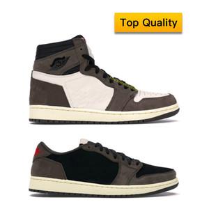 Top Quality Man Sport Air Jordan 1 Retro High Travis Scott Basketball Shoes la boîte originale Femmes Cactus Jack Sneaker Taille de 5,5 à 12