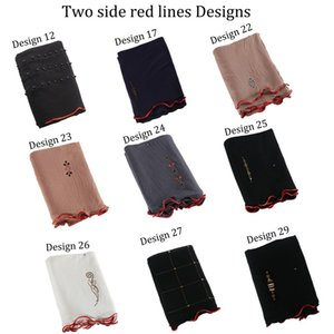 New arrival 2 sides red line mix design stretchy Jersey fabric Printing Scarf with stones for netherlands muslim women 200930