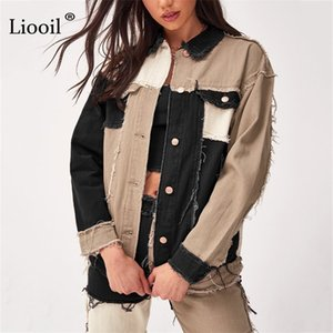 Liooil Patchwork Denim Loose Coats And Jackets Women Fall Winter Streetwear Color Block Jacket Button Up Pockets Sexy Thin Coat 201103