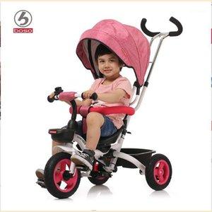 Boso Kids Tricycle, 한 버튼 폴드 시스템 어린이 세발 자전거, 좌석은 아기 자전거를 역전, 푸시 핸들 조정 베이비 워커 1