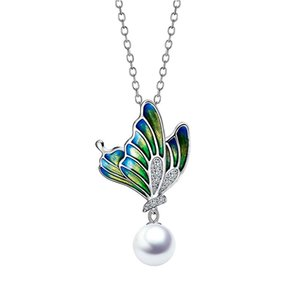 GW 2020 Cute Oil Painting Butterfly Charms Necklace Silver 925 Link Chain Neckalce Jewelry For Women Silver Jewelry New Arrival