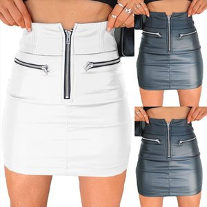 Womens Skirts Solid Fashion High Waist Circle Zipper Shiny Pu Leather Mini Short Pencil Mini Skirt 2020 New Arrival