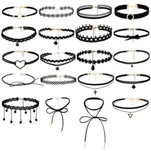 New Fashion Lace Collar Set Colar 20pieces Colar Gargantilha Set estiramento Velvet clássico gótico tatuagem Lace Choker #Q Jóias