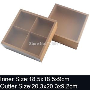 10PCS 20.3x20.3x9.2cm Brown slid drawer Craft Paper box for Wedding Favors Candy gift cake custom