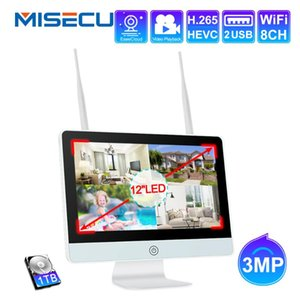 MISECUPlug and Play 8CH Wireless NVR Kit 12 Inch LCD NVR 1080P 3MP HD Security IP Camera Night Vision WIFI CCTV System