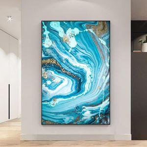 Abstract Blue Seascape con foglio oro verniciato a mano pittura a olio su tela senza cornice handmade wall art per soggiorno home decor