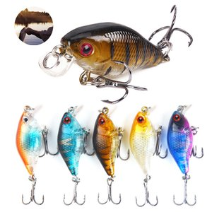 Durable fishing bait 5 colors 4.6g 4.5cm 3D Mini bait hard wabulejig carp striped fragile fishing bait swimming hook