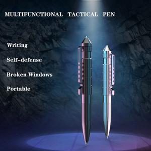 2 colores aleación de aluminio multiusos auto defensa táctica pluma roto ventana cono supervivencia al aire libre pluma táctica táctica