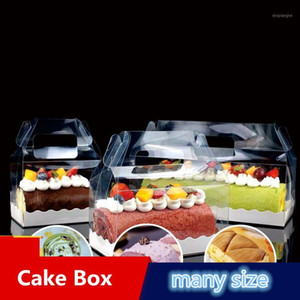 Clear Plastic Portable Cupcake Swiss Packing Gift Box Transparent Cake Box With Handle1