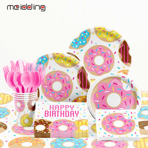 Birthday Donut Tableware Plates Favors Baby Party Tablecloth Decoration And Disposable Paper Kids Shower Table Accessories Gjxoc