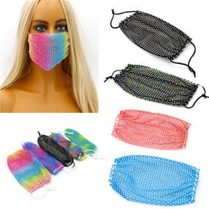Bling Diamond Yüz Net Yüz Ücretsiz Kargo Maske Balıkçılık Moda Trend Gece Kulübü Bar Rhinestones Maskesi Yıkanabilir Yeniden kullanılabilir Maske Bling