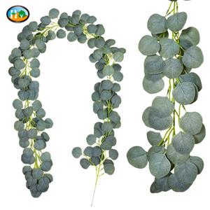 Folha densa Artificial Eucalipto Garland Faux Silk Eucalipto Folhas Vines Handmade Garland Greenery Wedding Backdrop Arch Wall 19 G2