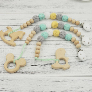 2020 new 3pcs Mint grey pastel crochet beads beech wooden teether pacifier chain baby dummy holder NT261