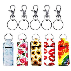 Newest Neoprene Chapstick Holder printed Handy Lip Balm Keychains Neoprene Keychain Lipstick Holder pouch Keychain Party 8 O2