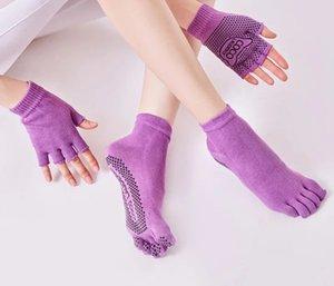 Non-slip Yoga Antiskid Professional Socks Soft Soled Gloves Pilates Cotton Gloves Five Finger Yoga Socks Set