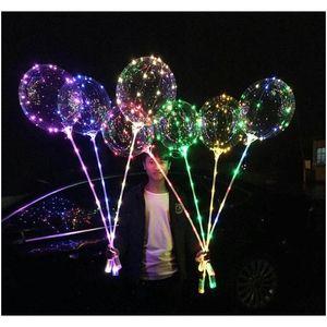 20 inches Led Bobo Balloon With 31.5Inch Stick 3M String Balloon Led Light Christmas Halloween Birthday Balloons Party Decor Bobo Balloons Xciir
