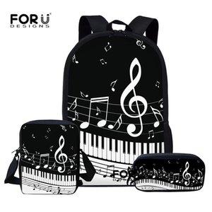FORUDESIGNS Children School Bags Set for Teen Boys Girls Music Note Backpacks Piano Book Bag Kids Shoulder Bag mochila escolar