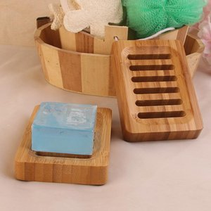 Wooden Natural Bamboo Soap Dishes Tray Holder Storage Soap Rack Plate Box Container Portable Bathroom Soap Dish Storage Box IIA824N