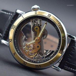 2018 Design Transparente Caso Black Leather Strap Mens Watch Forsining Top Automatic Skeleton Wrist Watches1