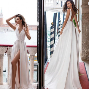 Princess Wedding Dresses 2021 Sexy V Neck A-line Beach Bridal Dress Bridal Gowns Sweep Train Satin Backless