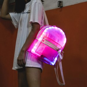ISHOWTIENDA Glitter Jelly Womens Backpack Clear Transparent LED Light Backpacks For Teenage Girls Electronic Rucksack Mochila