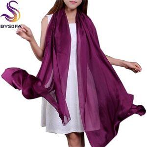 [Bysifa] Design Große Kap Mode Natürliche lange Schals Gedruckt Frühlingsherbst Thermisch Purpurrot Seide Schal Shawl 201210