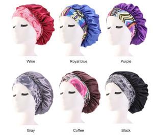 Kadınlar Saten Gece Güzellik Salonu Uyku Kapak Kapak Saç Bonnet Şapka İpek Kafa Kıvırcık Bönemli Saç Kemo Cap Için Geniş Elastik Bant