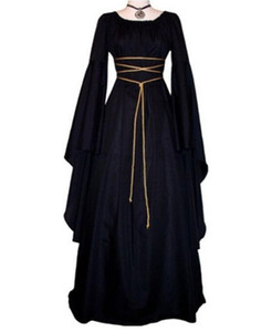 European and American round neck stitching long mopping medieval dress Halloween costume