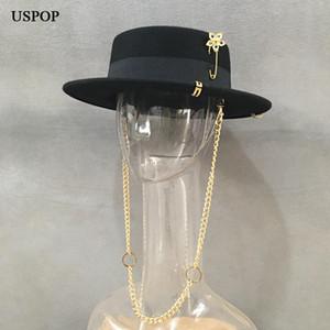 USPOP neue Frauen Fedoras Wollmützen Mode Fedoras mit Kette weibliche Winter warme Hut