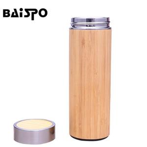 Baispo Thermos Bottiglia d'acqua in acciaio inox bottiglia di bambù conchiglia calda acque calda infusore thermos viaggio tazza bottiglia isolata tazza 201221