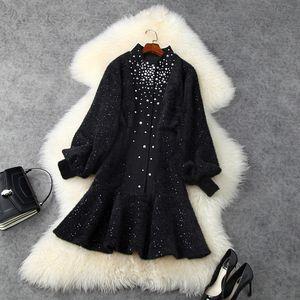 European and American women's wear 2020 winter new style Long sleeve lantern sleeve Hot drilling Fashionable black dress