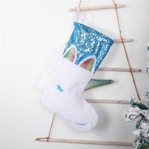 Unicorn Рождественский чулок Рождество висячие украшения партии Xmas блесток конфеты мешок Большой Прекрасный Sequined Unicorn носки EEC2726