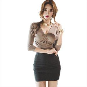 moda seti ucuz toptan yukarı B3253 2020 ilkbahar sonbahar yeni kadın seksi düşük kesim uzun kollu v boyun dantel