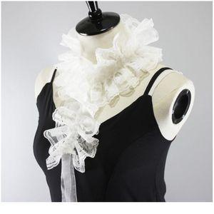 White Ruffles Lace Rim Fake Collar Detachable Necklace Choker With Strap Decor White qylzfa