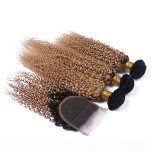 #1B 27 Honey Blonde Ombre Brazilian Virgin Kinky Curly Human Hair Weave Bundles With Dark Roots Light Brown Ombre 4x4 Lace Closure