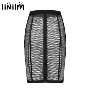 iiniim Womens Femme Fashion Parties Cocktail Hollow Out Fishnet High Waist Front Zip Up Pencil Skirt Cover Up Sexy Hot Skirt