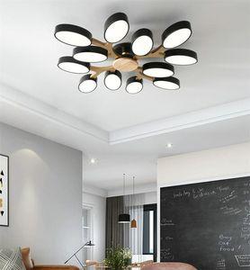 Nordic solid wood led ceiling lamps modern living room simple home new restaurant pendant lights hall chandelier bedroom lighting