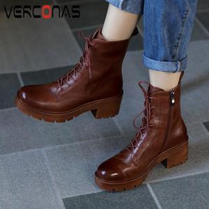 VERCONAS Femmes Bottines Automne Chaussures Hiver Femme Croix-Tied Véritable Zip cuir court Bottes New Casual Retro Martin