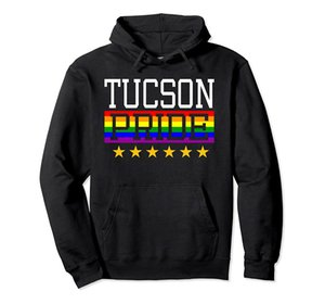 Tucson Pride Gay Lesbian Queer LGBT Rainbow Flag Arizona Pullover Hoodie Unisex Size S-5XL with Color Black Grey Navy Royal Blue Dark Heathe