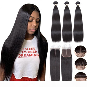 Straight Human Hair Bundles with 4x4 Closure Brazilian Virgin Hair Bundles with Closures Naturral Color Hair Wefts