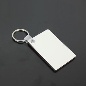 Sublimazione Blank Keychain MDF Square Pendente in legno Pendente in legno Transfer termico a doppio lato Anello Bianco FAI DA TE Regalo 60 * 40 * 3mm Portachiavi A03