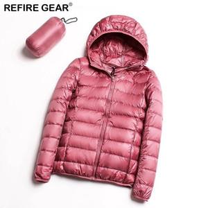 Refire Gear Outdoor Sports Winter Jacket Women Ultra Light Warm Hooded Coats Solid Duck Down Portable Hiking Jackets Female