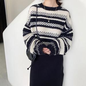 GIGOGOU loser Herbst-Winter-Strickjacke-Frauen-Farben-Block-elegant gestrickter Pullover in Übergröße Warm Female Jumper Top O Neck Pullover