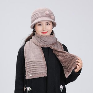2020 New Year Gift Women's Fur Blend Knitted Hat Scarf Set Autumn Winter Female Comfortable Thick Warm Basin Cap