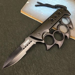 Pieghevole Muti-Function Pieghevole Coltello Brass Blass Knuckles Campeggio all'aperto Strumento di Autodifesa Coltello in acciaio inox Coltello in acciaio inox EEF4252