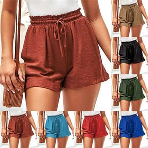 Lose Womens Shorts Plus Size Solide Farbe Alle Spiele Wide Bein Shorts Summer Casual CordString Kurze Hosen
